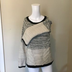 Marled Black and Light Taupe Sweater